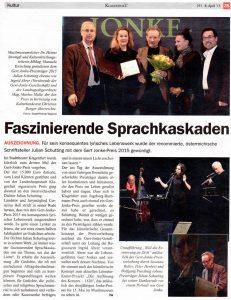 Faszinierende Sprachkaskaden | Gert Jonke-Preis 2015 | Stadtzeitung Klagenfurt | 2015-04-08