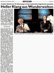 Heller Klang aus Wunderwelten | Kronen Zeitung | 2016-02-10