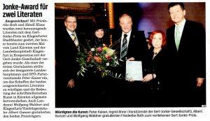 Jonke Award für zwei Literaten | KTZ | 2013-03-09