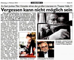 Vergessen kann nicht möglich sein | Kronen Zeitung | 2016-02-02