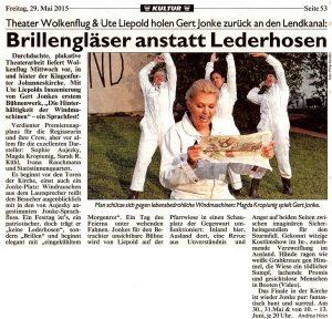 Brillengläser anstatt Lederhosen | Kritik zu Die Hinterhältigkeit der Windmaschinen | Kronen Zeitung | 2015-05-29