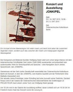 Konzert und Ausstellung JONKIPEL | Österreichisches Kulturforum Berlin | 2015-09-24