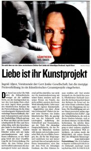 Liebe ist ihr Kunstprojekt | Kärntnerin des Tages | Kleine Zeitung | 2013-03-06